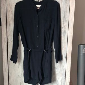 A.L.C. Navy long sleeve romper